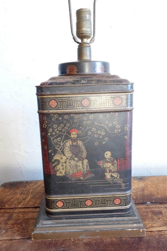 Frederick Cooper Tea Tin Lamp Chinoiserie Asian Decor Vintage