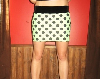 Neon Green Polka dot Mini Skirt Medium Large by Vicmes Clothing