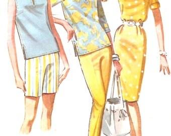 60s Mod Skirt blouse slim pants shorts ascot Vintage sewing pattern McCalls 6653 Bust 36 UNCUT