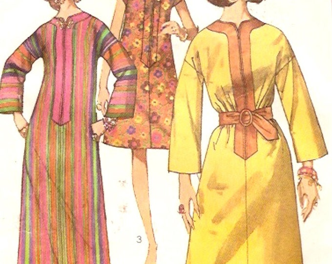 60s Mod caftan dress in two lengths retro hippie Hipster beach bride Vintage sewing pattern Simplicity 7018 Medium Bust 36 UNCUT