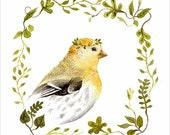 Goldfinch Portrait - Archival Print of original watercolor - nursery art, bird lover, bird watercolor