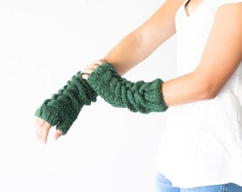 Long cable green fingerless gloves hand knit mittens arm warmers women knit gloves texting gloves half finger gloves