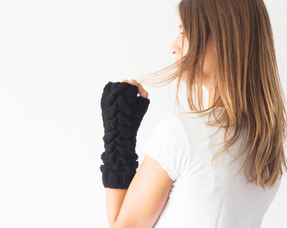 Arm warmers black cable long fingerless gloves,texting gloves,hand knit mittens,long mittens,half finger gloves,hand warmers