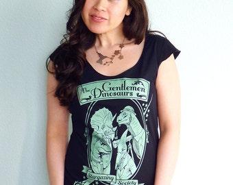 Gentlemen Dinosaurs Women's Tshirt, Dinosaur Shirt, Astronomy Tshirt, Science Gift - The Gentlemen Dinosaurs Stargazing Society