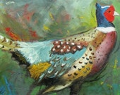 Pheasant 19 12x24 inch original bird portrait oil painting by Roz