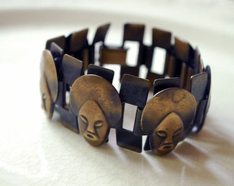 African Mask Bracelet, Mid Century Modern Jewelry, Copper Bracelet, Chain Link Bracelet, Abstract Metal Faces, 1940s 1950s Boho Accessories