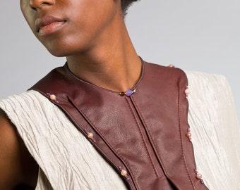 Deerskin Collar with smooth Jasper Stones and Mate Purple Swarovski Crystals.