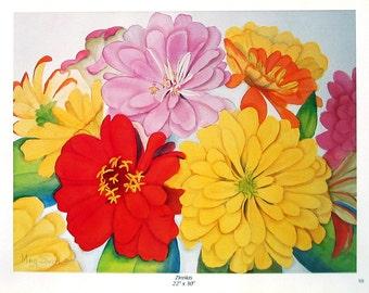 Flower Print - Zinnias - Botanical Print -1996 Naturalist Book Page - 12 x 9