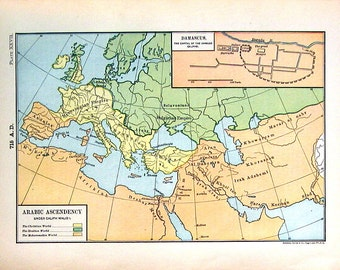 1888 Historical Map - Arabic Ascendancy and Damascus The Capital of the Ommaiad Caliphs - Antique Map - 11 x 8 World Atlas Map