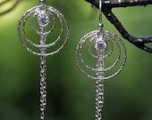 Three Ring Diamond Cut Chain Drop Earrings