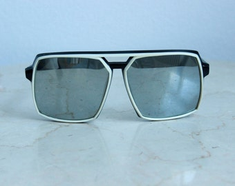 Vintage Japanese Mirrored Sunglasses, Black and White Inlay, 1970s