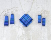 Cobalt Blue Thread Wrapped Fiber Jewelry with Rayon and Mettallic Accents