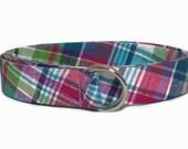 "Kids Madras Belt Plaid Belt, Preppy D-ring Belt for Girls Toddlers, Babies, Womens Waist, Pink Blue Green total length 22 - 35"" Summer Plaid"