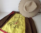 1950s Dale Evans Halloween Costume Child Size Hat and Fringed Skirt Cowgirl RARE Costume Prop Roy Rogers Character Costume