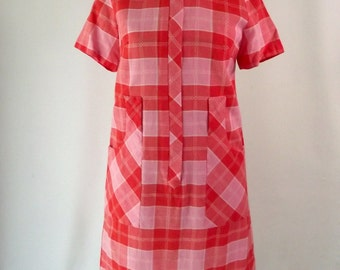 1960s Pink Plaid Dress Scooter Medium Bubblegum Melon Coral Pink Medium