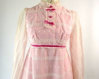 Pink Eyelet Maxi Dress Hippie Bohemian Fairy Dress XS