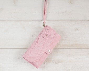iPhone SmartPhone Clutch Wallet - Rosie MicroSuede Clutch with ID pocket and Wristlet Strap in Pink -- Ready to Ship