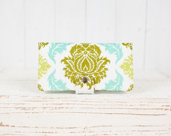 BiFold Wallet Clutch - Damask Handmade Wallet - Vegan Wallet / Urban Damask in Fresh Grass -- Ready to Ship