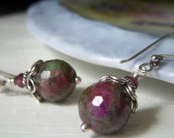 Ruby in Zoisite Earrings, Sterling Silver Dangle, Round Gemstone Earrings, Gemstone Dangle, Berry Mint Earrings, Genuine Ruby