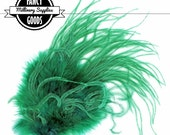 Vintage - Green - Curled Ostrich Feather Pad - New Old Stock - Made in Western Germany - Burlesque - Millinery Supplies - Circa 1950's