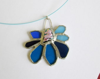 Petit Pink - Stained Glass Pendant Ornament with Fused Dichroic Centerpiece