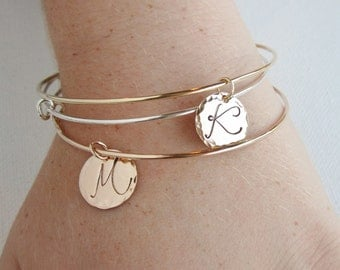 Personalized gift Charm bracelet Adjustable bangle bracelet Gold initial bracelet Silver Initial bangle Rose Gold bangle Layering bracelet