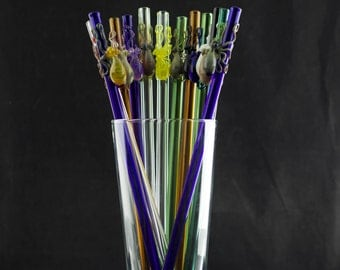 Octopus Glass Smoothie Straw in You Choose the Color, Made to Order