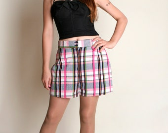 "Vintage Plaid Shorts - 1970s Candy Color Board Shorts - 30"" Waist"