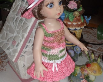 Crochet outfit for Tonner Ann Estelle Patsy  Doll 10 inch Dress Set  Pink Green White Pearl Bows