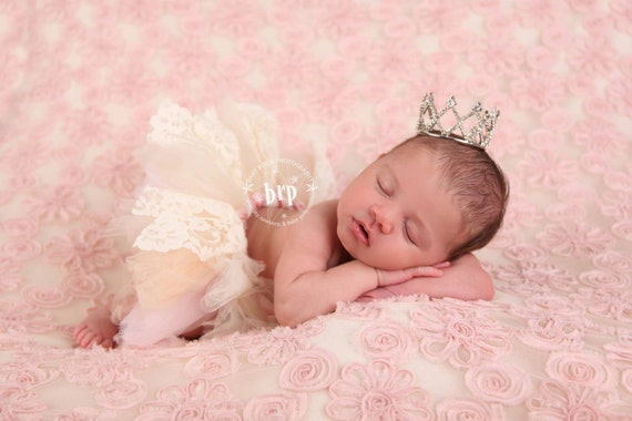 Lace Newborn Baby Tutu in Pink, Ivory and Cream