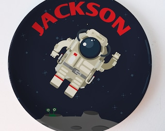 Astronaut Space Plate, personalized melamine plate, kids plate