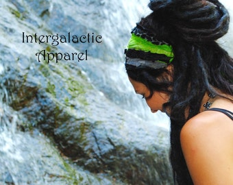 Headband, Dread wrap, Black and Green, Hippie Headband, Gypsy Clothes, Dreadband, Hair Wrap, Dreadlock Wrap, Festival Clothing,