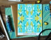 Congratulations Tiled Aqua and Chartreuse Marble Greeting Card / Marble Pattern XIII