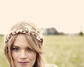 Bridal crown, Boho wedding wreath, Rustic woodland hair band, Ivory headpiece - ADELINE