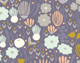 Cloud9 Morning Song Rich Meadow Navy Organic Cotton Fabric