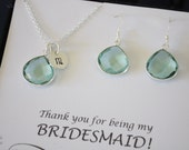 Personalized Bridesmaid Necklace and Earring Set Mint Quartz, Bridesmaid Gift, Translucent Mint, Sterling Silver, Monogram, Teardrop