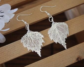 Silver Leaf Earrings, Birch Leaf, Real Leaf Earrings, Medium Real Leaf Earrings, Birch, Sterling Silver, Nature, LESM28