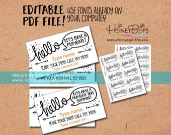 Editable Mommy Cards/Playdate Cards - Type your own info - Digital PDF file Only