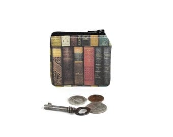 Antique Book Coin Pouch / Book Lovers Coin Bag / Vintage Book Library Wallet