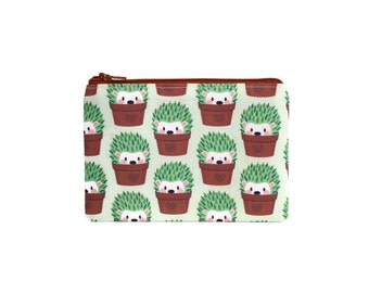 CHOOSE SIZE Hedgehogs Disguised as Cactuses Zipper Pouch / Hedgehog Cacti Camera Bag on Mint Green / Make Up or Coin Pouch