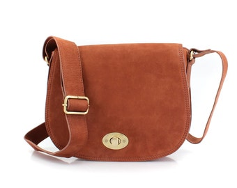 Tan Leather Saddle Bag/ Leather Cross Body Bag/ Leather Satchel/ Leather Messenger Bag