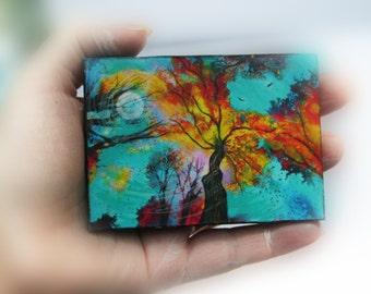 Evening celebration, aceo, original, miniature art, moon, tree art, turquoise, autumn landscape, mixed media #photography #natureart