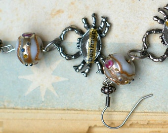 Collaged French Crab Earrings - Enamelled Beads