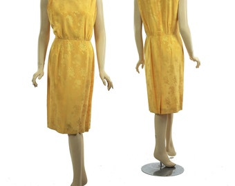 60s Sheath dress sleeveless abstract damask print Classic madmen wiggle dress golden yellow dress dinner party retro dress   L Large