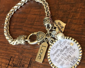 Mother of the BRIDE bracelet, Today a Bride Tomorrow a Wife Forever Your Little Girl, wedding keepsake, CUSTOM gift, I'll love you forever