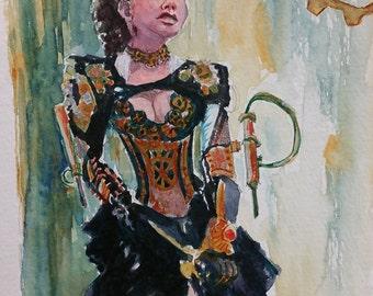 Steampunk Diva Original Watercolor Painting