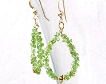 Peridot Gemstone Hoop Earrings, Teardrop Dangles, Peridot Nuggets, Goldfilled Earrings