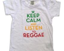 Keep Calm and Listen to Reggae White Slub Burnout Infant Tee