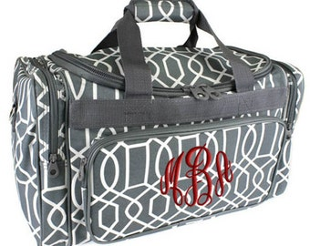Personalized Duffle Bag Gray White Geometric Monogram Grey Ballet Dance Travel