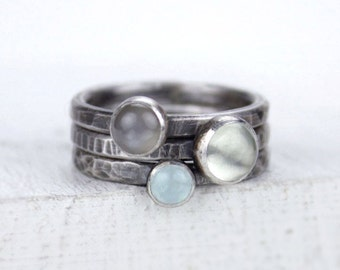 Silver Stacking Rings in Soft and Smokey Colors, Moonstone and Aquamarine Stackable Rings, Set of Three